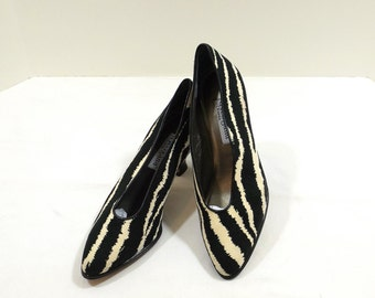 d' Rossana by Charna Zebra Print Suede Pumps Size 7M