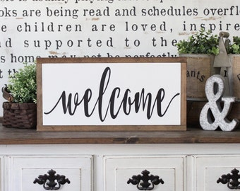 Welcome Sign, Rustic Sign, Home Decor, Wood Sign, Farmhouse Decor, Wood Framed Art