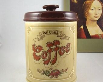 Vintage Pottery Coffee Canister Japan Asake Storage Jar