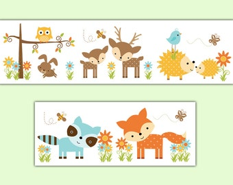 Woodland Nursery Decal Wallpaper Border Forest Creatures Animal Friends Baby Girl Nursery Childrens Bedroom Kids Room