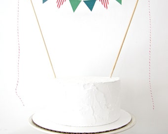 Elf Cake Topper, Fabric Cake Bunting, Holiday, Wedding, Birthday Party, Shower Decoration Christmas candy cane red stripe pine green winter