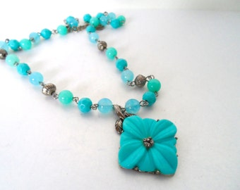 Vintage Turquoise Blue Carved Lucite Flower Pendant and Bead Necklace Silver Tone Lucite Jewelry Flower Jewelry Lucite Bead Necklace