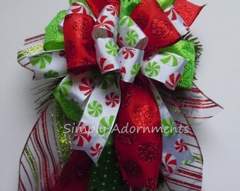 Whimsical Peppermint Christmas Bow Funky Christmas Bow Peppermint Christmas Lantern Bow Whimsical Funky candy Cane Christmas Bow Gift Bow