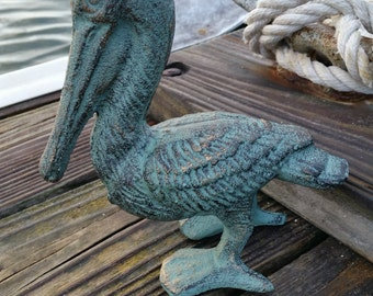 Cast Iron Pelican - Pelican Statue, Garden Decor, Door Stop, Nautical Decor, Coastal Decor, Gift for Beach House, Housewarming Gift, Birds