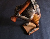 Antique Mexican Frog Taxidermy Playing Horn