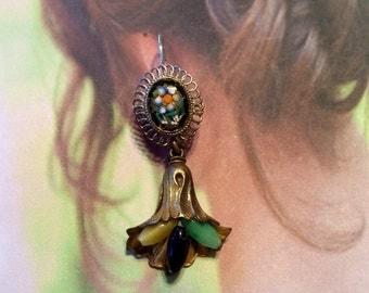 Deco Mosaic Earrings Czech Micro Mosaic Glass Bohemian Dangles