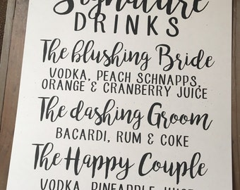 Wedding Signage - SIGNATURE DRINKS - CUSTOM Personalize - Alcohol Mixes - Happy Couple Bride Groom - Recycled - Eco Friendly