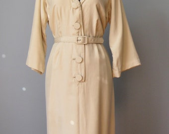 Beige Silk Dress / Vtg 50s / Beige Shirt Dress Sailor Style  / Made in British Crown Colony of Hong Kong