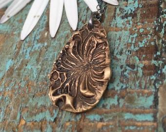 Bronze hibiscus necklace