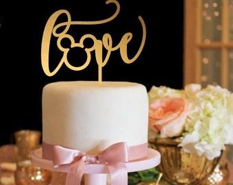Mickey Wedding Cake Topper - Love Cake Topper - Gold Cake Topper