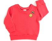 Oh-Hi Coral Red Sweatshirt with patches 6m-6/7y. www.brownsugarbeach.com