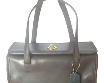 80's Vintage COACH dark brown leather shoulder bag, handbag in unique drum shape, Made in USA Classic unisex purse. Rare