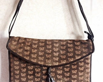 Vintage Bottega Veneta dark brown suede leather square shoulder bag with iconic butterfly allover prints