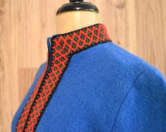 1960s Sportsom Askim Norwegian jacket, true blue sixties Norwegian jacket, felted wool Norwegian coat, Scandinavian trimmed jacket
