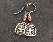 Cross dangle earrings - mixed metal jewelry, easy everyday bohemian dainty chic by mollymoojewels