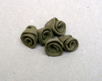 Ceramic Rose Beads, Khaki  Flower Pendants, Olive Green Rose Beads , Charms