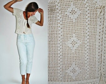 1980s Crochet Lace Up Top