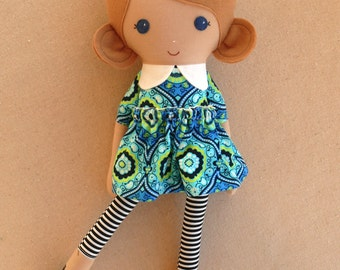 Fabric Doll Rag Doll Light Brown Haired Girl in Blue and Black Print Dress with Striped Leggings