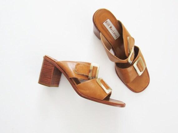 90s Sandals Chunky Heel Leather Slides Womens Minimalist