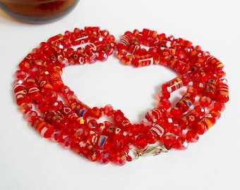 Red Bead Necklace, Millefiori Italian Floral Art Glass Crystal Beads, Vintage Hand Knotted Double Strand Necklace