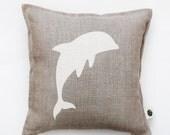 Dolphin pillow cover - linen pillow - decorative pillow - pillow case - cushion cover - accent pillow - home decor - sofa pillow cover 0345