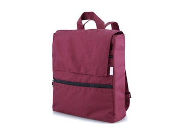 Vegan school bag rucksack, Student College Laptop Backpack, Burgundy Deep Red Canvas Backpack, Eco Friendly Backpack, Back to School Gift
