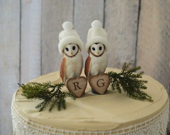 Barn owl wedding cake topper bride groom personalized animal fall winter barn wedding country rustic decorations owl lover initial sign