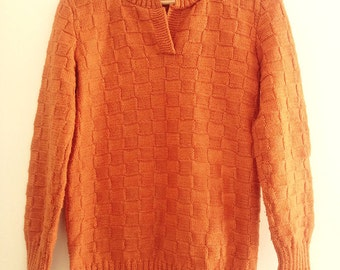 Women's sweater, handmade knit sweater, orange chunky womens sweater, size M, lace, long sleeved sweater, pullover