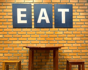 EAT- Eat Kitchen Sign, Kitchen Decor, Rustic Wall Art,