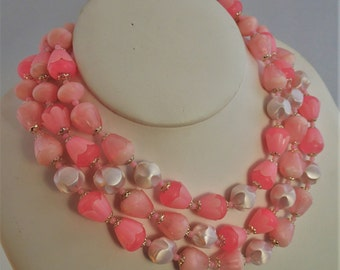 FREE Shipping Vintage Triple Strand Baby Pastel Pink Beaded Pearlescent Necklace Made in Japan Light Weight Plastic Beads