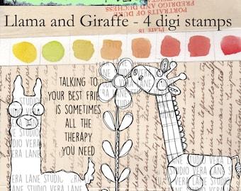 LLama and Giraffe - 4 digi stamp set in jpg and png files