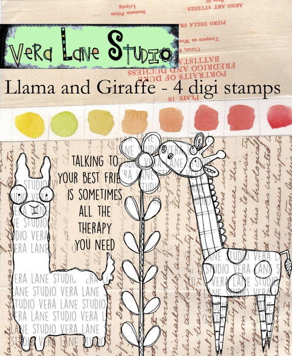 LLama and Giraffe - 4 digi stamp set in jpg and png files