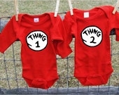 Thing 1 and Thing 2  Dr Seuss Twin Onesies / Twins Bodysuits / Baby Halloween Costume / Cat in the Hat Baby Onesie / Twins Halloween Costume