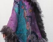 Light Oversized Felted Shawl ,Dressy Scarf, Nuno Romantic Fairy Felted Scarf, Long Raw Wool Fur Collar , Floral Scarf, Winter Shawl OOAK