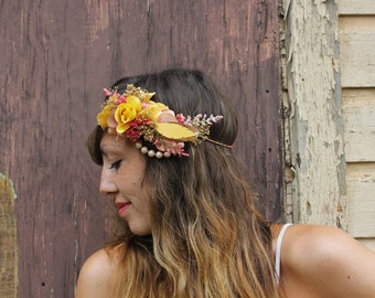Dried Floral Crown // Bohemian Coral Pink Gold Sunrise Flower Crown << Boho Feather Head Piece // Ready to Ship >>