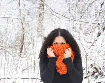 Chunky textured cowl scarf, Knit circle scarf, Hooded scarf - The Edita - Orange knit scarf