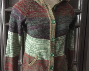 70s Striped Hooded Cardigan Sweater