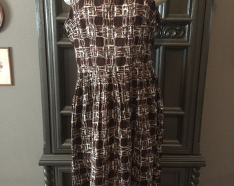 50s Brown Cotton Summer Dress