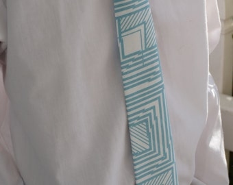 Boys Teal and Cream Neck Tie