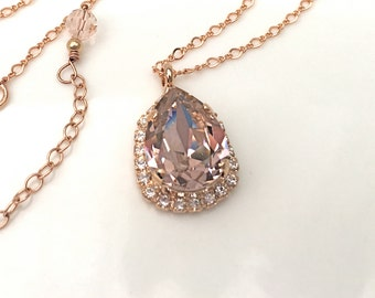 Blush Pendant Blush Pink 14Kt Rose Gold Necklace Pink Wedding Pink Bridesmaids Pink Blush Swarovski Crystal Morganite Blush Bridal Pendant