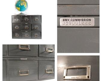 Vintage Metal Multi Drawer Cabinet - Industrial Storage Cabinet - Card Catalog - Industrial Decor - Gray - Globe Weis