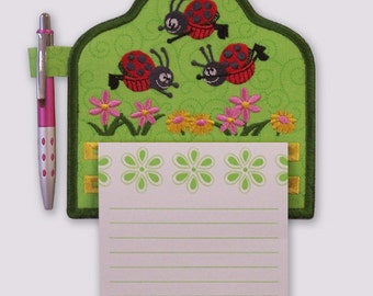 Happy Leaping Ladybugs and Flowers Embroidered Notepad Holder