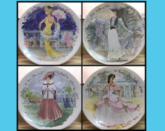 """Set of 4 Plates  """"Women of the Century"""" Series - a tribute by Ganeau in Fine-Art Porcelain"""