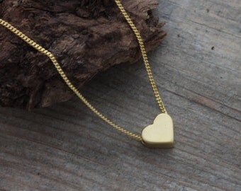 Delicate necklace, Gold Heart Necklace, Small Heart Necklace, Heart Jewellery, Simple Necklace. Heart Jewelry.