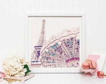 Paris carousel print - Paris Print - Paris nursery