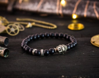 6mm - Matte black onyx beaded bracelet w/ Buddha, made to order gemstone bracelet, mens bracelet, womens bracelet