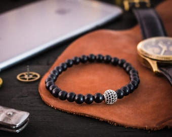 6mm - Matte black onyx beaded stretchy bracelet with silver micro pave ball charm, mens bracelet, womens bracelet, gemstone bracelet