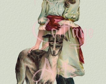 """Digital Download """"Girl With Hound Dog"""" Antique Die Cut Edwardian Scrap Graphic Image now in PNG!"""