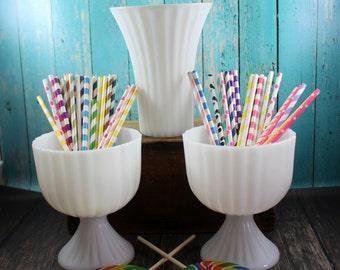 Matching Large Vase & Compotes, Milk Glass, Stripes, Bud Vases, Collection, Lot, Wedding, Centerpiece, Shabby Chic, Rustic, Woodland, shower