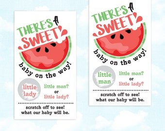 10 Baby Gender Reveal Scratch Off Cards - Summer Picnic Sweet Watermelon